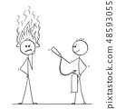 Cartoon of Man or Businessman Thinking Hard With Flames Coming From Head, Another Man With Fire 48593055