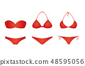 three red bikinis isolated on white background 48595056