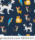 Cartoon Pets Vector Color Flat Seamless Pattern 48595421