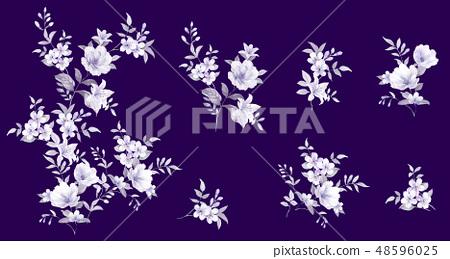 우아한 수채화 손으로 그린 꽃 48596025