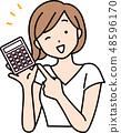有計算器的一名婦女 48596170