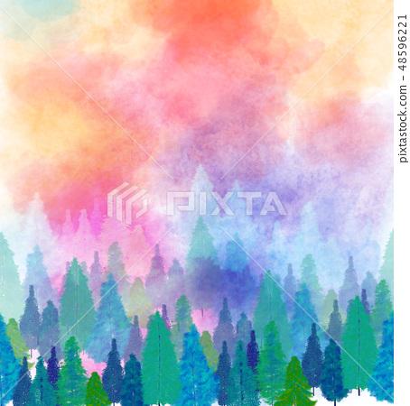 手繪好看的叢林和松樹 48596221
