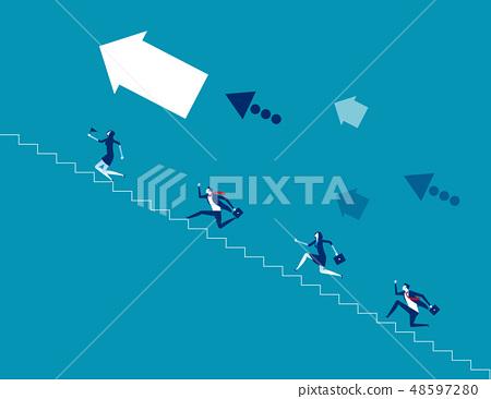Business team climb stair. Concept business 48597280