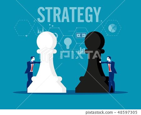 Strategy. Business team holding chess figure. 48597305