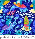 Cute Koala surfers seamless pattern. Hand drawn illustration 48597625