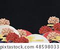 배경 소재 - 일본 화 - 모란 - 일본식 디자인 - 부채 - 검정 종이 48598033