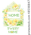 Vector  floral house symbol. Home sweet home. 48598847
