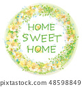 Vector  floral  circle  frame. Home sweet home. 48598849
