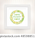 Home sweet home text in floral  round frame.   48598851