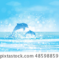 Vector  blue sea  and jumping dolphins. 48598859