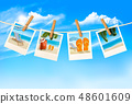 Travel background with vacation photos  48601609