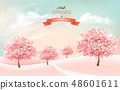 Spring nature background with blossom cherry 48601611