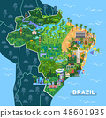 Landmarks, sightseeing places on South America map 48601935