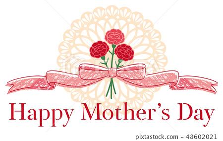 母親節康乃馨絲帶裝飾標題 48602021
