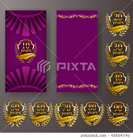 Set of anniversary card, invitation with laurel wreath, numbers. Decorative gold emblem of jubilee 48604540