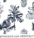 Vector Illustration of palm tree and banana fruit sketch for design, website, background, banner 48605927