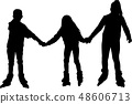 little girls rollerblading together silhouette 48606713