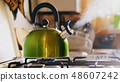 Kettle Boiling On a Gas Stove 48607242