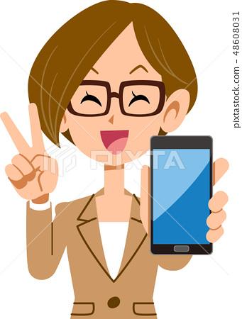 นักธุรกิจหญิงที่ชื่นชอบสมาร์ทโฟน 48608031