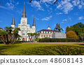 Panorama of Jackson Square on a sunny day 48608143