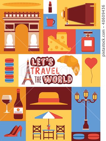 Paris vector pattern french culture eiffel tower and triumphal illustration europe tourism fashion 48609436