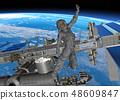 ISS 국제 우주 정거장과 여성 비행사 perming3DCG 일러스트 소재 48609847