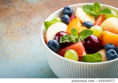 Bowl of healthy fresh fruit salad. 48609957