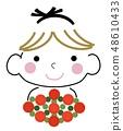꽃을 가진 여자 (배경색 없음) 48610433