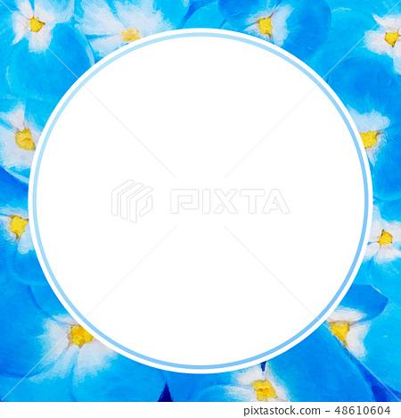 Blue hydrangea illustration with empty center 48610604