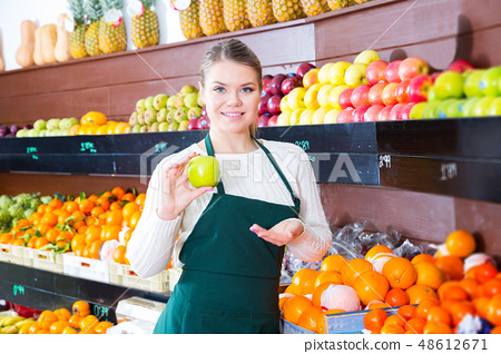 woman selling fresh apples and other fruits 48612671