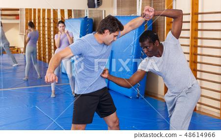 Two Men Practicing Self Defense Techniques Stock Photo 48614966 Pixta