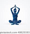 Yoga Class, A woman practice yoga graphic vector 48620393