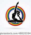 Yoga Class, A woman practice yoga graphic vector 48620394