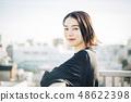 여성 옥상 라이프 스타일 48622398