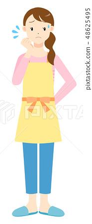 앞치마 여성 곤란한 표정 48625495