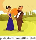 Dating, Honeymoon Romantic Vector Poster Concept 48626048