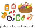 잼과 과일 수채화 48626601