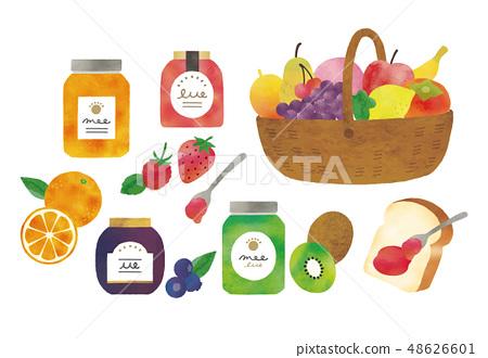 果醬和水果水彩 48626601