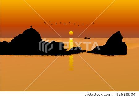 풍경,자연,경치,계절,해넘이,바다,섬,해지는 바다풍경,석양, 48628904