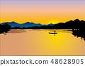 풍경,자연,경치,계절,해넘이,바다,섬,해지는 바다풍경,석양,강,강가,나룻배,사공 48628905