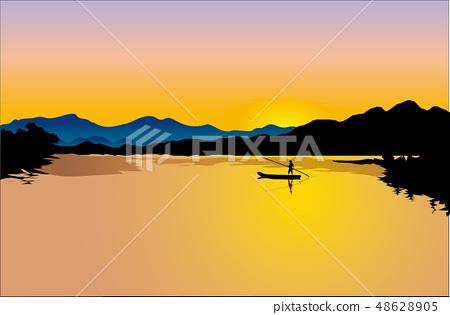 風景,自然,風景,季節,日落,海,海島,日落,風景,日落,河,河,輪渡 48628905