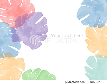 手繪水彩熱帶樹葉 48630409