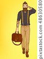 Walking stylish hipster man pop art vector 48630580