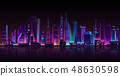 Vector modern megapolis on river at night. 48630598
