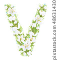 Vector  letter V decorated white flowers. 48631430