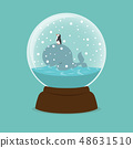 Whale Fish and penguin with crystal ball 48631510