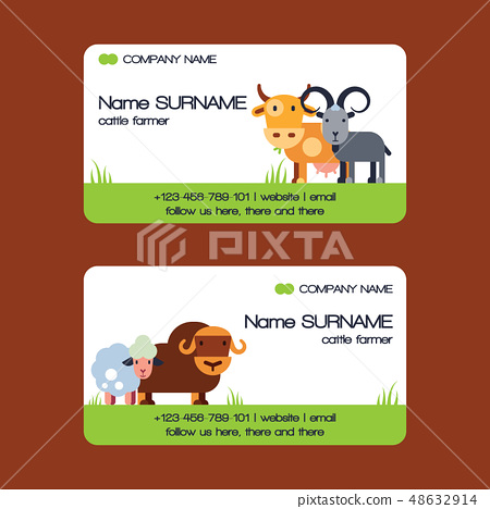 Farm animals vector business-card set domestic farming characters cow sheep goat cattle farmer 48632914