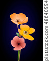 Vector leaves and colorful flowers vector illustration 48640554