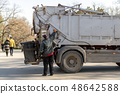 Garbage truck operator controls an emptying of bin 48642588