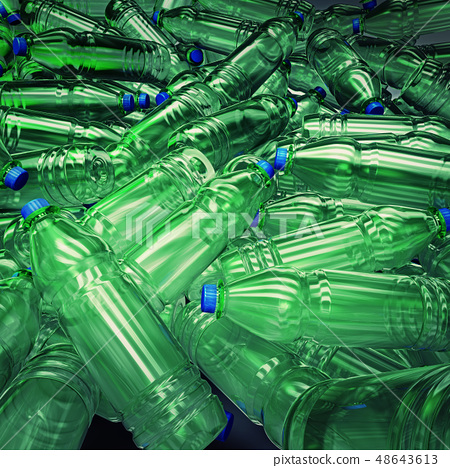Hundreds of plastic bottles wildly mixed up  48643613